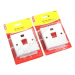 Wellco White 45A Double Pole Switch With Neon - Pack of 2