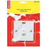 Wellco White Double Pole Ceiling Switch With Neon