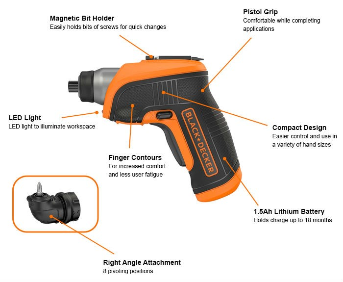 Black and Decker 3.6V Lithium Screwdriver