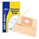 Electruepart BAG146 Dirt Devil Vacuum Dust Bags (Type 102) - Pack of 5