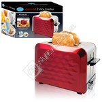 Quest 34600 2 Slice Stainless Steel Diamond Cut Toaster - Red