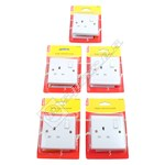 Wellco White Single Switched Socket - Pack of 5