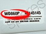 Hotpoint Washing Machine Model Number Closeup