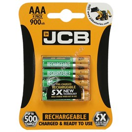 JCB AAA Rechargeable Batteries - Pack of 4 - ES1597172