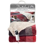 Dreamland 16773 Tartan Check Velvety Sherpa Heated Overblanket