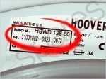 Hoover Washing Machine Model Number Closeup