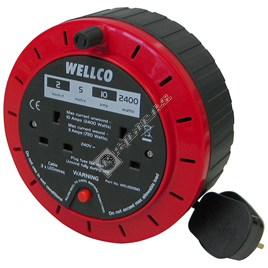 Wellco 5 Metre Extension Cable Reel with 2 Sockets - ES1642806