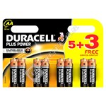 Duracell Plus Power AA Batteries 5 + 3 (8 pack)