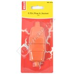Wellco Orange 10A 3 Pin Rubberised Connector
