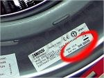 Zanussi Washing Machine Model Number Closeup