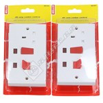 Wellco White 45A Double Pole Cooker Control With 13A Socket - Pack of 2